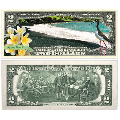 Image for Colorized $2 Federal Reserve Note Great American Landscapes - Pa'iloa Beach from Littleton Coin Company