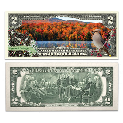 Image for Colorized $2 Federal Reserve Note Great American Landscapes - Vermont Foliage from Littleton Coin Company