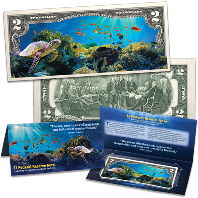 Image for Colorized $2 Federal Reserve Note - Coral Reef from Littleton Coin Company