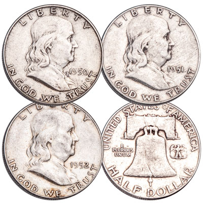 Image for 1950-1952 Franklin Silver Half Dollar Set from Littleton Coin Company