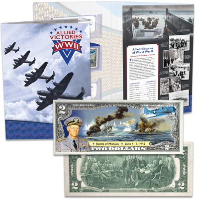 Image for Colorized Allied Victories of WWII $2 Federal Reserve Note - Battle of Midway from Littleton Coin Company