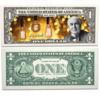 Image for Colorized U.S. Innovation $1 Federal Reserve Note - New Jersey from Littleton Coin Company