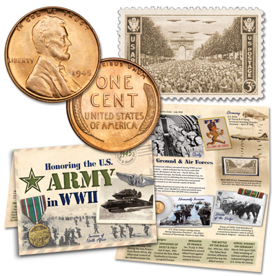 Image for 1945 WWII Lincoln Cent & Stamp Set from Littleton Coin Company