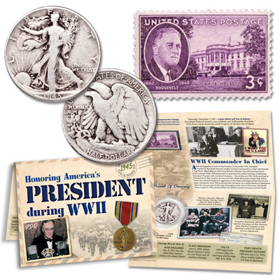 Image for 1945 WWII Liberty Walking Half Dollar & Stamp Set from Littleton Coin Company