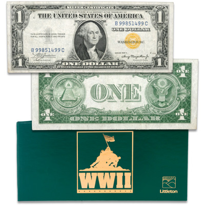Image for WWII Emergency Yellow Seal $1 Silver Certificate in FREE holder from Littleton Coin Company