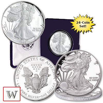 Image for 1986-2016 American Eagle Silver Dollar Set from Littleton Coin Company