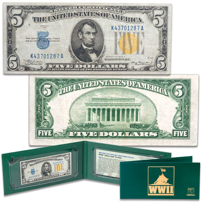 Image for Series 1934A WWII $5 Silver Certificate in Holder from Littleton Coin Company