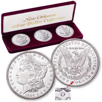 Image for 3-Coin Set of New Orleans Morgan Silver Dollars, Uncirculated, MS60 from Littleton Coin Company