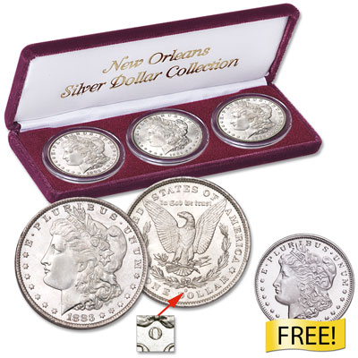 "Image for 1883-1904 ""O"" Mint Morgan Silver Dollar Set with Free Silver Round from Littleton Coin Company"