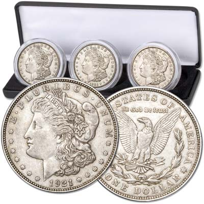 Image for 1921 PDS Morgan Silver Dollar Set with Case from Littleton Coin Company