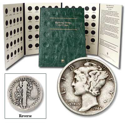 Image for 1920-1945 Mercury Silver Dime Set with FREE Folder (11 coins), Circulated from Littleton Coin Company