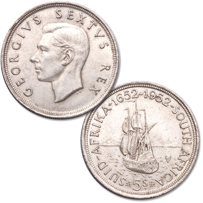 Image for 1952 South Africa Silver 5 Shillings from Littleton Coin Company
