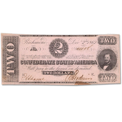Image for 1862 $2 Confederate Note from Littleton Coin Company