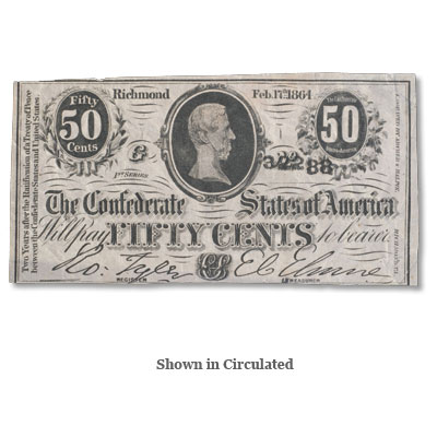 Image for 1863 50¢ Confederate Note from Littleton Coin Company