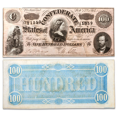 Image for 1864 $100 Confederate Note from Littleton Coin Company