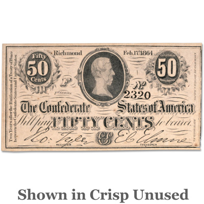 Image for 1864 Confederate Sates of America 50¢ Note from Littleton Coin Company