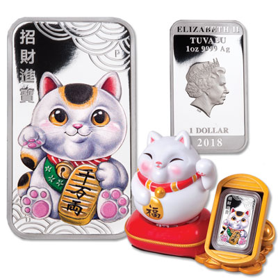 Image for 2018 Tuvalu 1 oz. Silver Dollar Lucky Cat from Littleton Coin Company