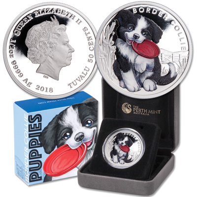 Image for 2018 Tuvalu 1/2 oz. Silver Border Collie from Littleton Coin Company