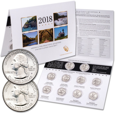 Image for 2018 P&D National Park Quarter Set in Card from Littleton Coin Company