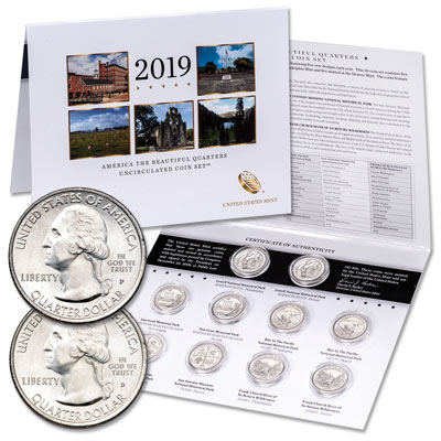 Image for 2019 P&D National Park Quarter Set in Card from Littleton Coin Company