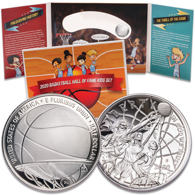 Image for 2020-S Basketball Hall of Fame Silver Dollar Kids Set from Littleton Coin Company