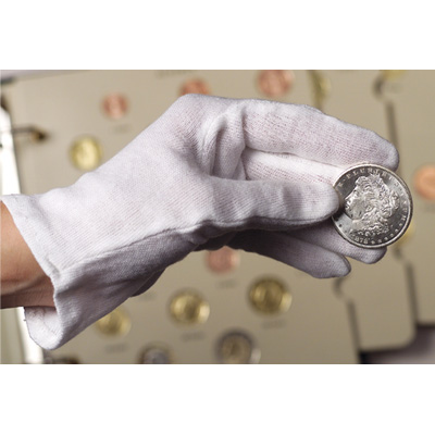 Image for White Cotton-Knit Gloves from Littleton Coin Company