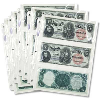 Image for Five 3-Pocket PVC Free SuperSafe Currency Pages for Large-Size Notes from Littleton Coin Company