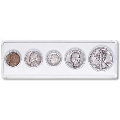 Image for 1946 5-Coin Silver Year Set with Holder, Circulated from Littleton Coin Company